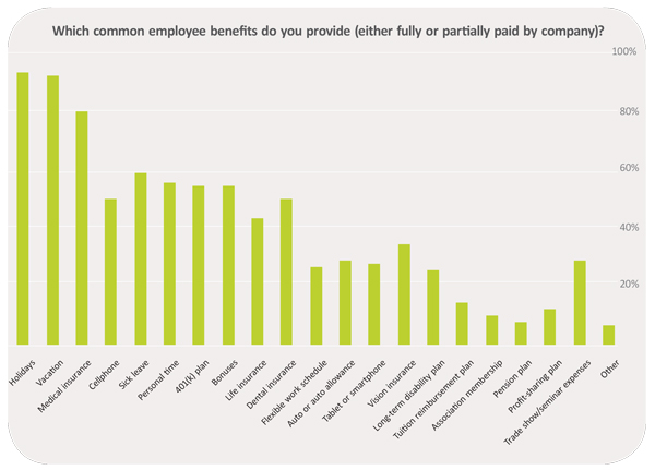 Which common employee benefits do you provide (either fully or partially paid by company)