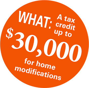 A tax credit up to $30,000 for home modifications