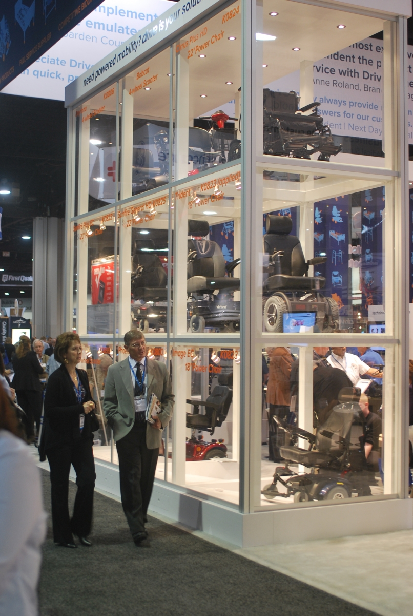 An exhibit by Drive Medical, which included this glass-enclosed showcase, won a Best Booth Award at Medtrade 2011 in Atlanta.<br /> (Photo/Dave Parks)<br />