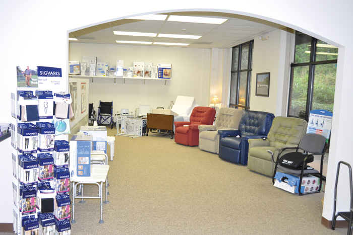 An open and uncluttered showroom allows customers to move about easily and try out the products.
