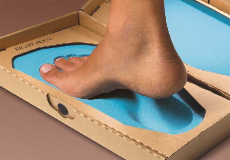 The Amfit Footprinter foam box leads to biomechanically-balanced orthotics.