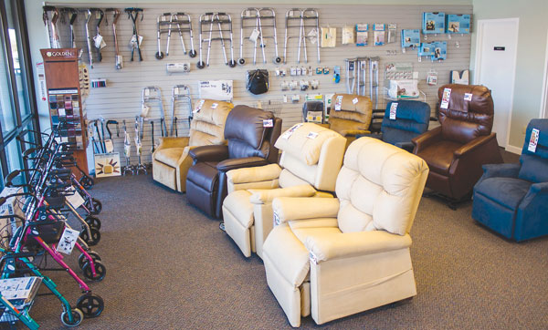 A neat, uncluttered showroom allows customers to focus on specific items and even try them out.